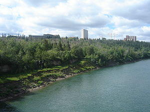 Urban parks in Canada - Undeveloped parkland.  The North Saskatchewan River valley in Edmonton with the University of Alberta in the background.