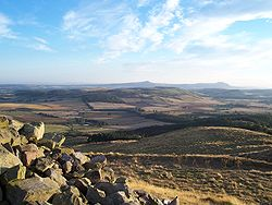 Looking across the farmland of North East Fife to the distant Lomond Hills