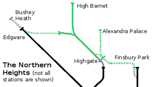 Northern City Line - The planned 1930s Northern Heights extensions, showing the diversion of the Northern City Line to Alexandra Palace, Bushey Heath and High Barnet. Sections marked in solid green were ultimately taken over. The line from Highgate to Finsbury Park already existed but was to be absorbed by London Transport; this never happened and it closed to passengers in 1954. After being used to transfer tube trains from Highgate depot to the Northern City line, it closed permanently in 1970.