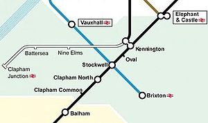 Northern line extension to Battersea - The proposed route, including possible further extension to Clapham Junction.