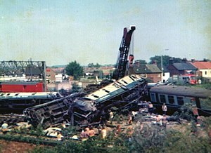 Nuneaton rail crash - The aftermath of the crash, which killed six people and injured 38.