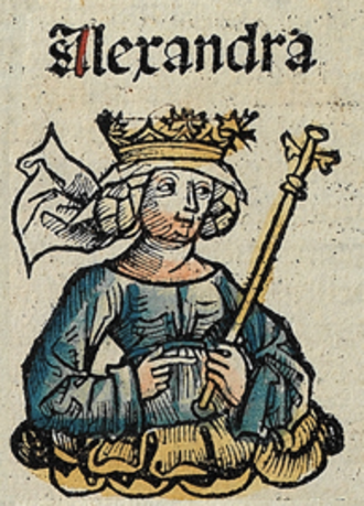 Alexandra the Maccabee - Alexandra the Maccabee from Nuremberg Chronicle, published in 1493