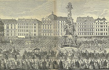 Procession of Maria Theresa at Wiener Graben on November 22nd to St. Stephen's Cathedral