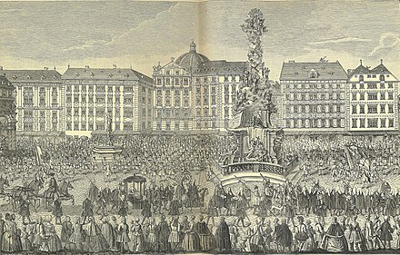 Maria Theresa's procession through the Graben, 22 November 1740. The pregnant queen is on way to hear High Mass at St. Stephen's Cathedral before receiving homage. Oath of Fealty to Maria Theresa.jpg