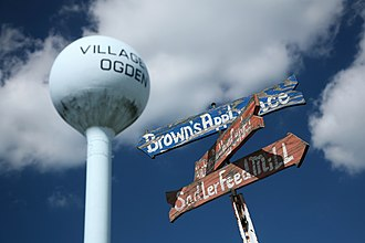 Ogden, Illinois - Watertower and signposts in Ogden