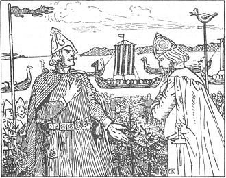 Ragnvald Ulfsson - King Olaf meets Jarl Ragnvald in an illustration from an 1899 edition of Heimskringla.