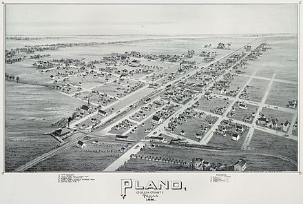 Plano, Texas in 1891. Toned lithograph by A.E. Downs, Boston. Published by T. M. Fowler & James B. Moyer. Amon Carter Museum, Fort Worth, Texas