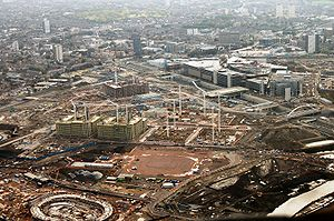 Aerial view of the Olympic Park, London