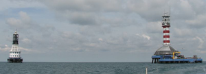 One Fathom Bank Lighthouse - Both One Fathom Bank Lighthouses are situated a mere 500 metres apart, as seen in this photograph.