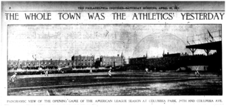 Columbia Park - A photograph of Columbia Park on opening day, 26 April 1901, which was printed in The Philadelphia Inquirer the following day