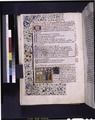 Opening of book two, miniature, initial with penwork and blue initial on gold, border design (NYPL b12455533-426080).tif
