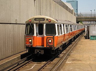 MBTA subway - Orange Line train near Ruggles station