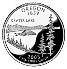 The Oregon State Quarter features Crater Lake.
