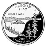Oregon quarter featuring Crater Lake