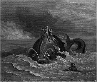Monster of Lake Tota - Illustration of an aquatic animal by Gustave Doré