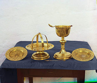 Prothesis (altar) - Sacred vessels used in the Orthodox Divine Liturgy (photograph by Sergey Prokudin-Gorsky, 1911).