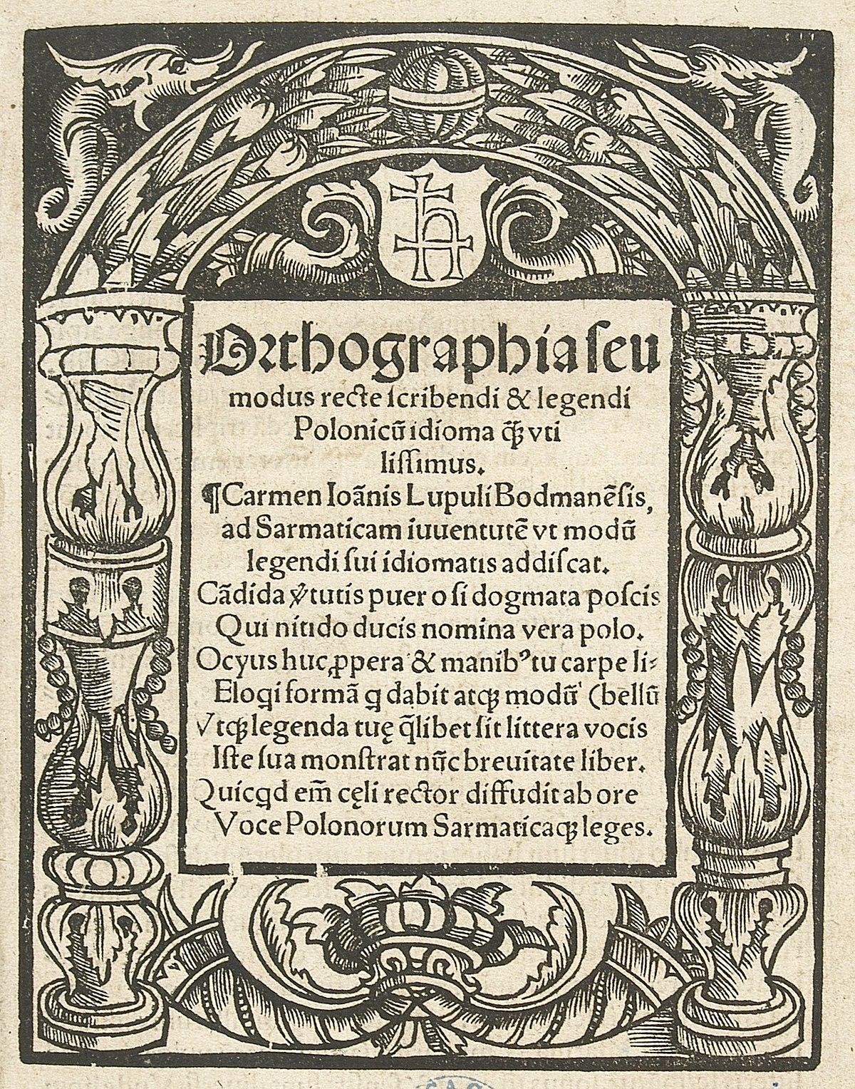 Historia Ortografii Polskiej Wikipedia Wolna Encyklopedia