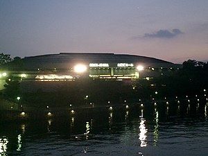 Osaka-jō Hall - Night-time view from the northeast, August 2005