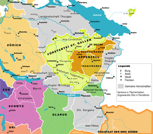 County of Sargans - Eastern Switzerland in 1798, with shared territories in grey and associate members of the Confederacy outlined. The County of Sargans can be seen in the south, between the two parts of Glarus (green).