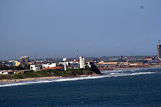 Osu Castle - A view of the Osu Castle from the lighthouse in Jamestown, Accra