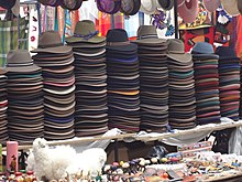 Traditional Handmade hats for sale at the Otavalo Artisan Market in the  Andes Mountains of Ecuador b2bd12545b8