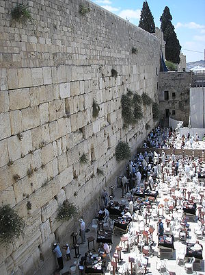 The Torah instruction of the Kohanim - The Western Wall presumed to be the wall directly behind where the Hekhal stood