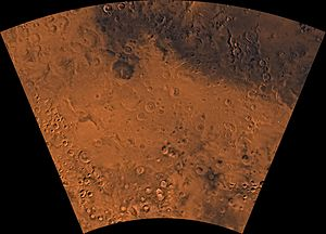 Phaethontis quadrangle - Image of the Phaethontis Quadrangle (MC-24). The region is dominated by heavily cratered highlands and low-lying areas forming relatively smooth plains.