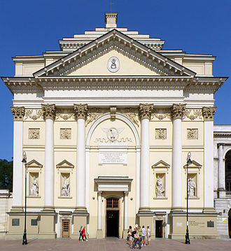 St. Anne's Church, Warsaw - Façade with statues of the Four Evangelists.