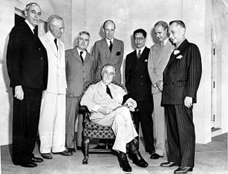 Pacific War - The Pacific War Council as photographed on 12 October 1942. Pictured are representatives from the United States (seated), China, the United Kingdom, Australia, Canada, the Netherlands, New Zealand, and the Philippine Commonwealth.