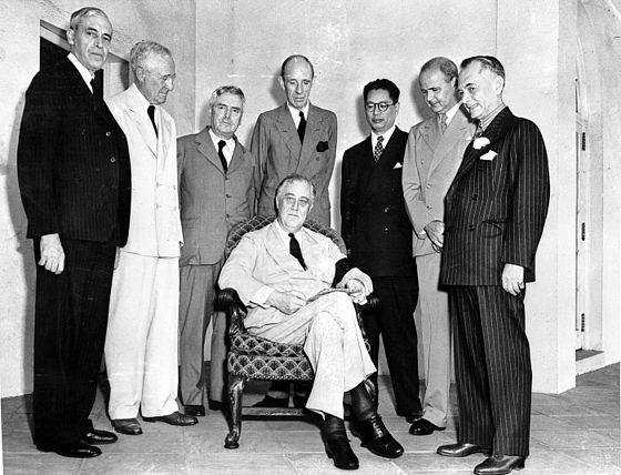 The Pacific War Council as photographed on 12 October 1942. Pictured are representatives from the United States (seated), China, the United Kingdom, Australia, Canada, the Netherlands, New Zealand, and the Philippine Commonwealth. Pacific War Council.jpg