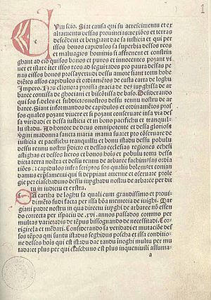 Eleanor of Arborea - 1st page of the Carta de Logu