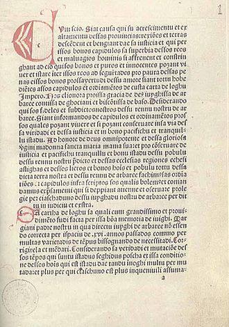 Eleanor of Arborea - 1st page of the Carta de Logu