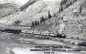 "Durango and Silverton Narrow Gauge Railroad - Photo of the first trip of the ""Painted Train""."