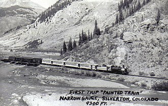 """Durango and Silverton Narrow Gauge Railroad - Photo of the first trip of the """"Painted Train""""."""