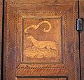 Palazzo ducale di gubbio, porta intarsiata del xv secolo, 2 ermellino.JPG