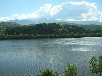 Lake Pancharevo - View from the east bank, with the Vitosha Mountains in the background