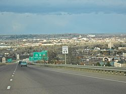 Great Falls, Montana as viewed from بزرگراه میان‌ایالتی ۱۵, looking due north