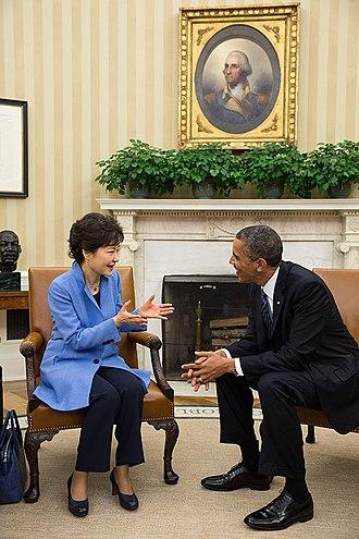 Park Geun-hye - Park Geun-hye at a bilateral meeting with U.S. President Barack Obama on 7 May 2013