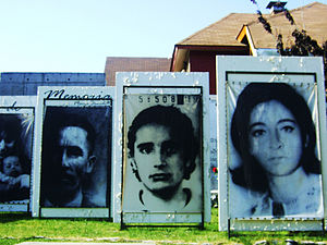 Forced disappearance - Disappeared people in art at Parque por la Paz at Villa Grimaldi in Santiago de Chile