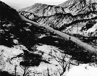 First and Second Battles of Wonju - Soldiers from US 7th Infantry Division moving to blast North Korean positions along Route 29