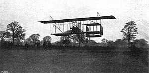 1910 London to Manchester air race - Paulhan landing his Farman III biplane at Didsbury to win the challenge