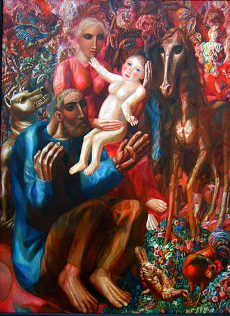 Pavel Filonov - A Peasant Family (The Holy Family), 1914, oil on canvas, 159x128 cm, Russian Museum.