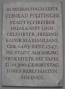 Peutinger Gedenktafel Augsburg