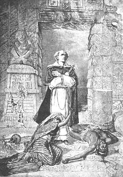 """Las Casas Protecting the Aztecs"" (image of a priest standing in prayer with arms crossed and holding a cross in his left hand. Aztecs lying around him."
