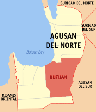 Butuan Bay - Map of Agusan del Norte showing the location of Butuan Bay and Butuan City.