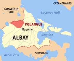 Map of Albay showing the location of Polangui