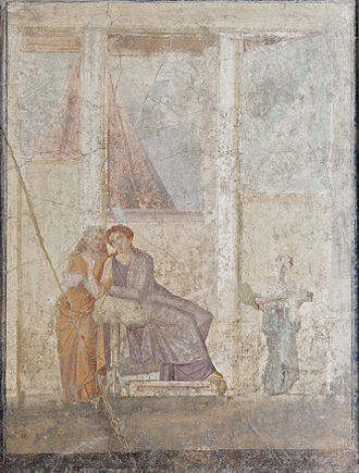 Phaedra (Seneca) - Phaedra hands to her nurse the letter accusing Hippolytus.