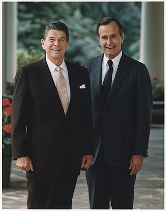 President Ronald Reagan with Bush Photograph of the Official Portrait of President Reagan and Vice-President Bush - NARA - 198518.jpg