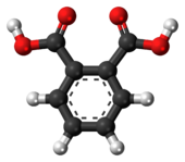 Ball-and-stick model of the phthalic acid molecule