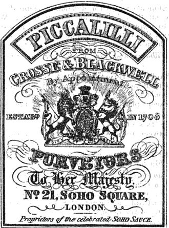 Crosse & Blackwell - Image: Piccalilli 1867